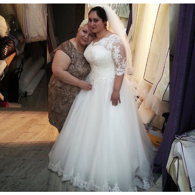 Plus Size Bridal Dresses: MZYH125 2016 Plus Size Half Sleeve White/Ivory Bridal Gown