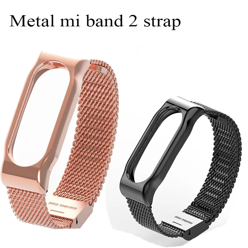 Mijobs Replacement Metal Strap For Xiaomi Mi Band 2 Screwless Stainless Steel Bracelet  Miband 2nd Strap Wrist Belt  black gold  strap
