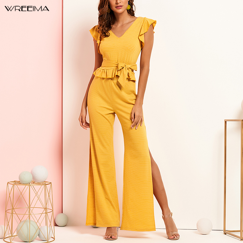 Wreeima Ruffle Trim Striped Top And High Split Side Wide Leg Pants Set Women 2019 Summer Boho Yellow Knitted Two Piece Set