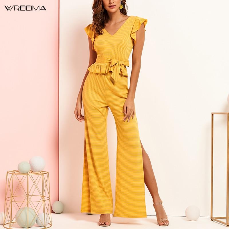Wreeima Ruffle Trim Striped Top And High Split Side Wide Leg Pants Set Women 2019 Summer Boho Yellow Knitted Two Piece Set