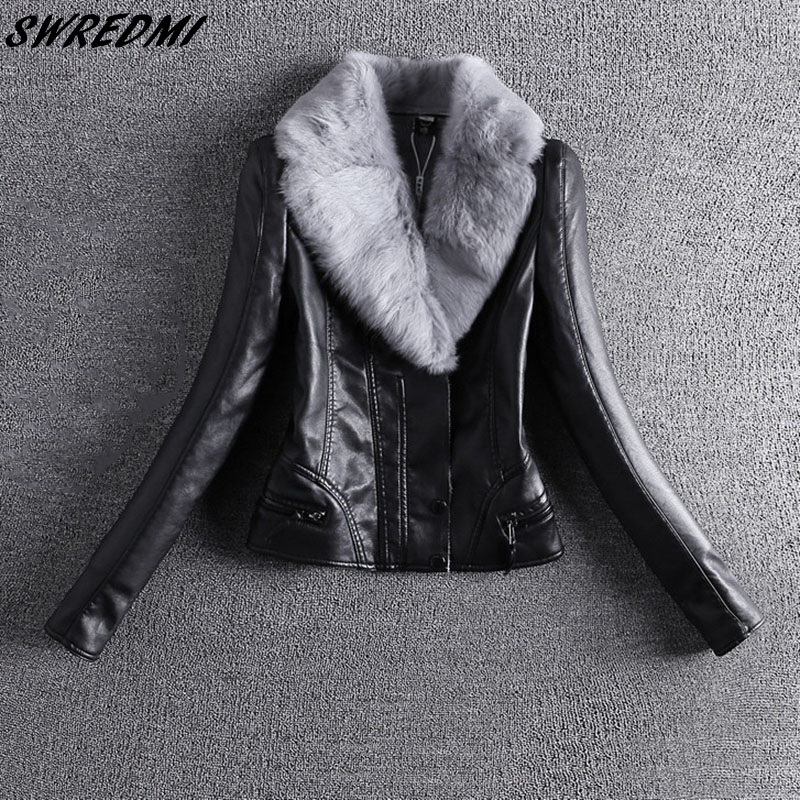 SWREDMI New Slim Rex Rabbit Real Fur Collar Thick Women   Leather   Jacket Autumn And Winter Thick   Leather   Coats Outerwear Plus 4XL