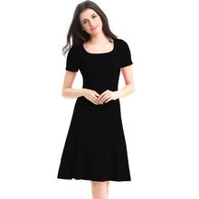 Summer Dress New Women Lady Female Business Work Formal Square Neck Short Sleeve Sheath Bodycon Skater Dresses Vestidos