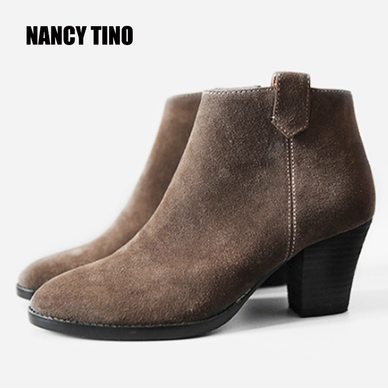 NANCY TINO 2017 New Hot For All Season Women Nubuck Leather Ankle Boots Full Genuine Leather Women
