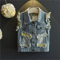 Fashion 2016 Boys Denim Vest Spring And Autumn Children Jeans Vests Casual Kids Waistcoat Boys girls streetwear