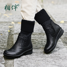 2017 black women boots sheepskin winter warm plush female boots mid-calf genuine leather women shoes