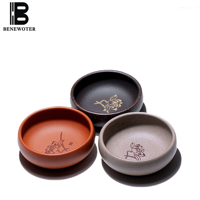80cc Yixing Purple Clay Tea Cup Household Vintage Drinkware Hand Painted Lotus Pattern Master Mini Teacup Tieguanyin Small Bowls