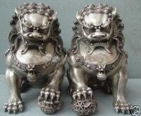 Excelente Plata de Tíbet oriental León Estatua 100% el envío libre