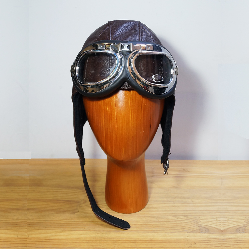 Leather Pilot Hat with Goggles