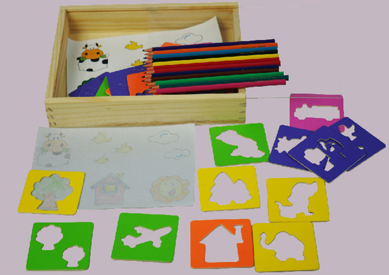 New wooden Drawing toy set baby educational toy baby gift Free shipping in Drawing Toys from Toys Hobbies