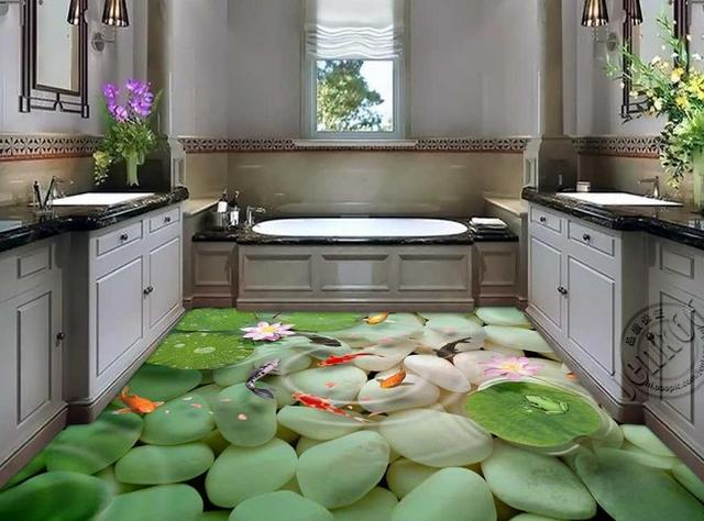 US $35.7 49% OFF|Koi wasser lotus 3D mode gepflasterten boden 3d badezimmer  tapete wasserdicht pvc boden tapete 3d bodenbelag in Koi wasser lotus 3D ...