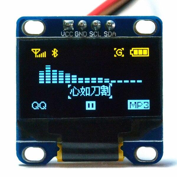 0.96 дюймов I2C IIC OLED модуль желто-синий 12864/3.3 В-5 В для Arduino 51 MSP420 STIM32 SCR (HTDS-DI96N)