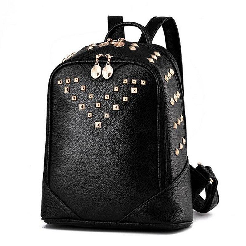 2016 Fashion Women Leather Backpacks Rivet College School Bags For Teenagers Girls Female Backpack 2016 fashion women backpacks rivet soft sheepskin leather bags shoulder for teenage girls female travel bag free gift