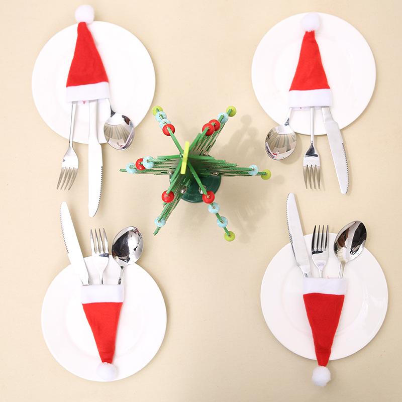 10Pcs New Year Noel Tableware Knife Fork Christmas Hat Bag Noel Decorations for Home