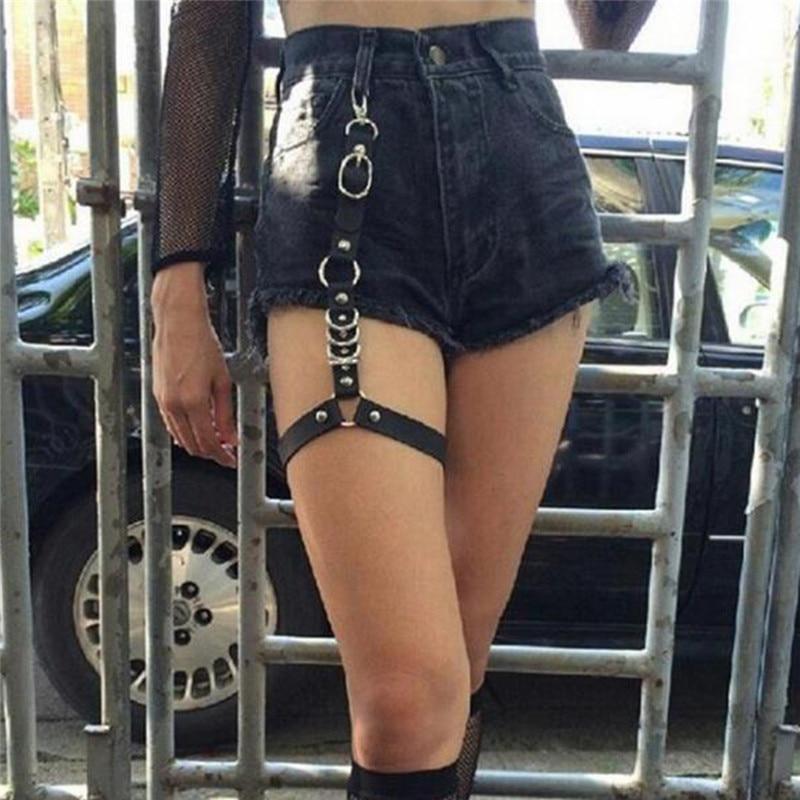 Leg Ring Women Single Strap Clip Leather Punk Suspender Hook Adjustable Leg Ring Handmade Sock Garter