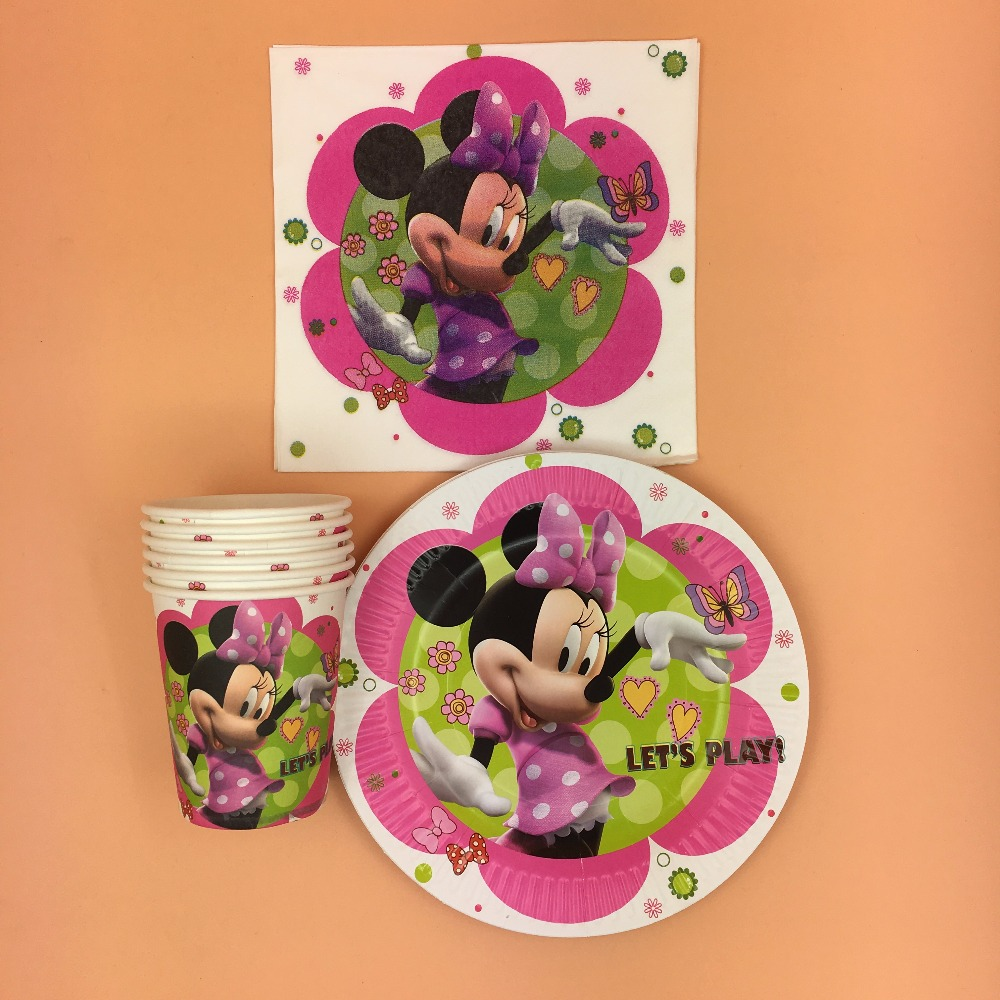 60pcs minnie <font><b>mickey</b></font> <font><b>mouse</b></font> 20pcs <font><b>cups</b></font>+20pcs plates+20pcs napkins for kids <font><b>birthday</b></font> party decoration event party supplies