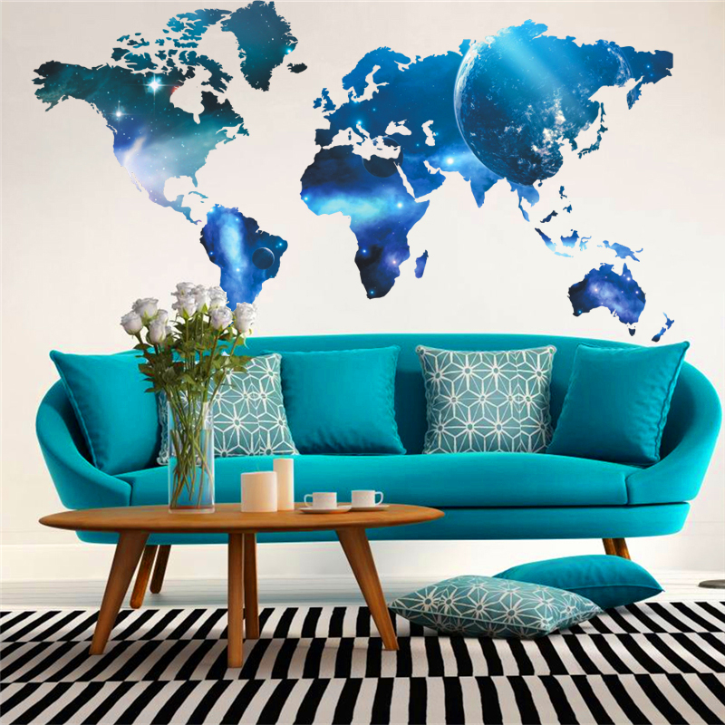 newest fashion world map space style wall decals for kids classroom bookstore posters creative wall art decor pvc diy stickers