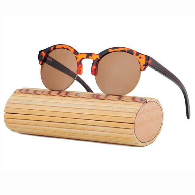 Half Frame Wood Glasses : 100% handmade bamboo wood sunglasses vintage men polarized ...