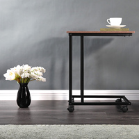 Household Snack Table for Coffee Laptop Tablet Sofa Couch Side Table with 4 Wheels Wood Look Accent Furniture with Metal Frame