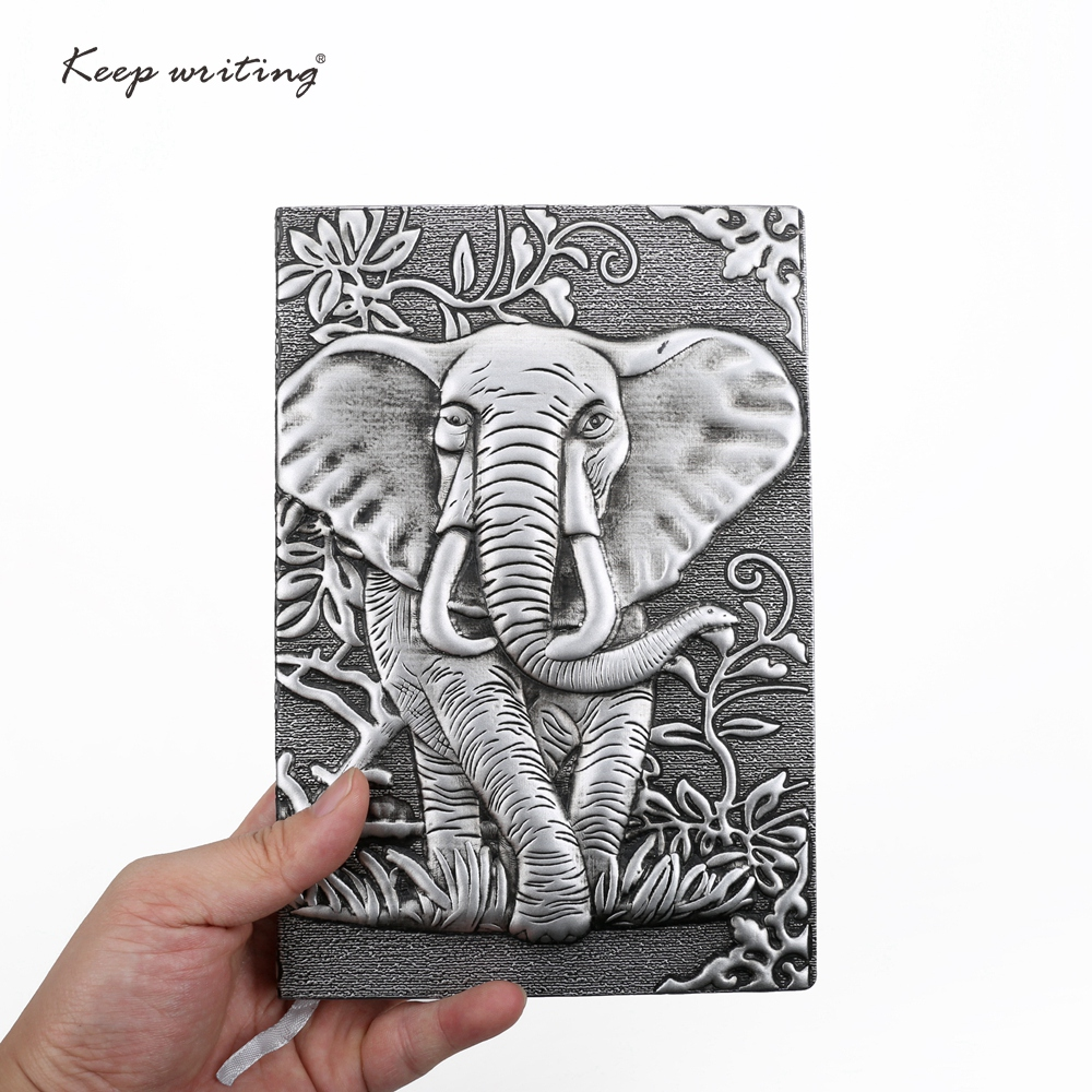 Elephant cover A5 Notebook Vintage journal Retro Notepad Relief Effect Cute European Diary PU Leather office Stationery kawaii sosw fashion anime theme death note cosplay notebook new school large writing journal 20 5cm 14 5cm