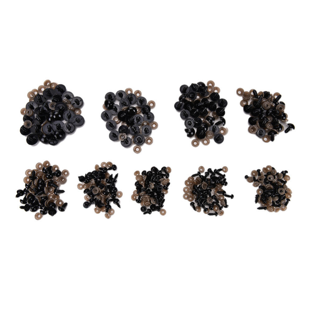 100pcs DIY 6mm/8mm/9mm/10mm/12mm Plastic Screw Eyes for Teddy Bear Doll Animal Puppet Doll Accessories  Children Kids DIY Toys