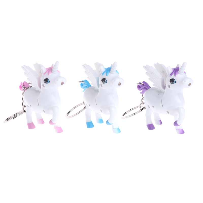 Unicorn Key Ring Cute LED Light Sound Cartoon Animal Keychian Holder White Horse-M15