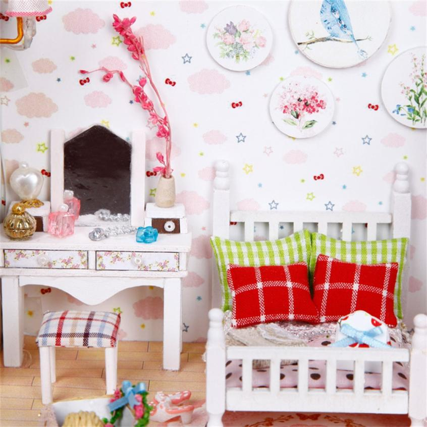 Wooden DIY Miniature Doll Furniture LED House Decorate Creative Gifts 5.28