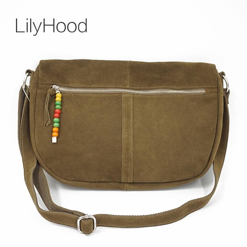 LilyHood Genuine Leather Crossbody Bag Women H Leisure Colorfull Music Festival Hippie Gypsy Bohemian Big Suede