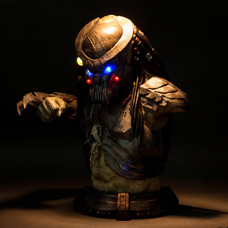 Alien vs Predator Statue AVP Predator Bust Scar Predator 1:1 (LIFE SIZE) Half-Length Photo Or Portrait with LED Light Resin Toy avengers captain america 3 civil war black panther 1 2 resin bust model panther statue panther half length photo or portrait