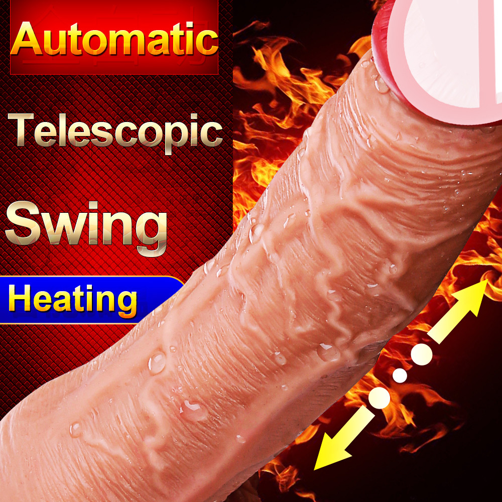 Telescopic Realistic Dildo <font><b>Vibrators</b></font> <font><b>Sex</b></font> <font><b>Toys</b></font> for Woman Men Gay Automatic Heating Penis Female Masturbator <font><b>Vagina</b></font> Clit <font><b>Massager</b></font> image