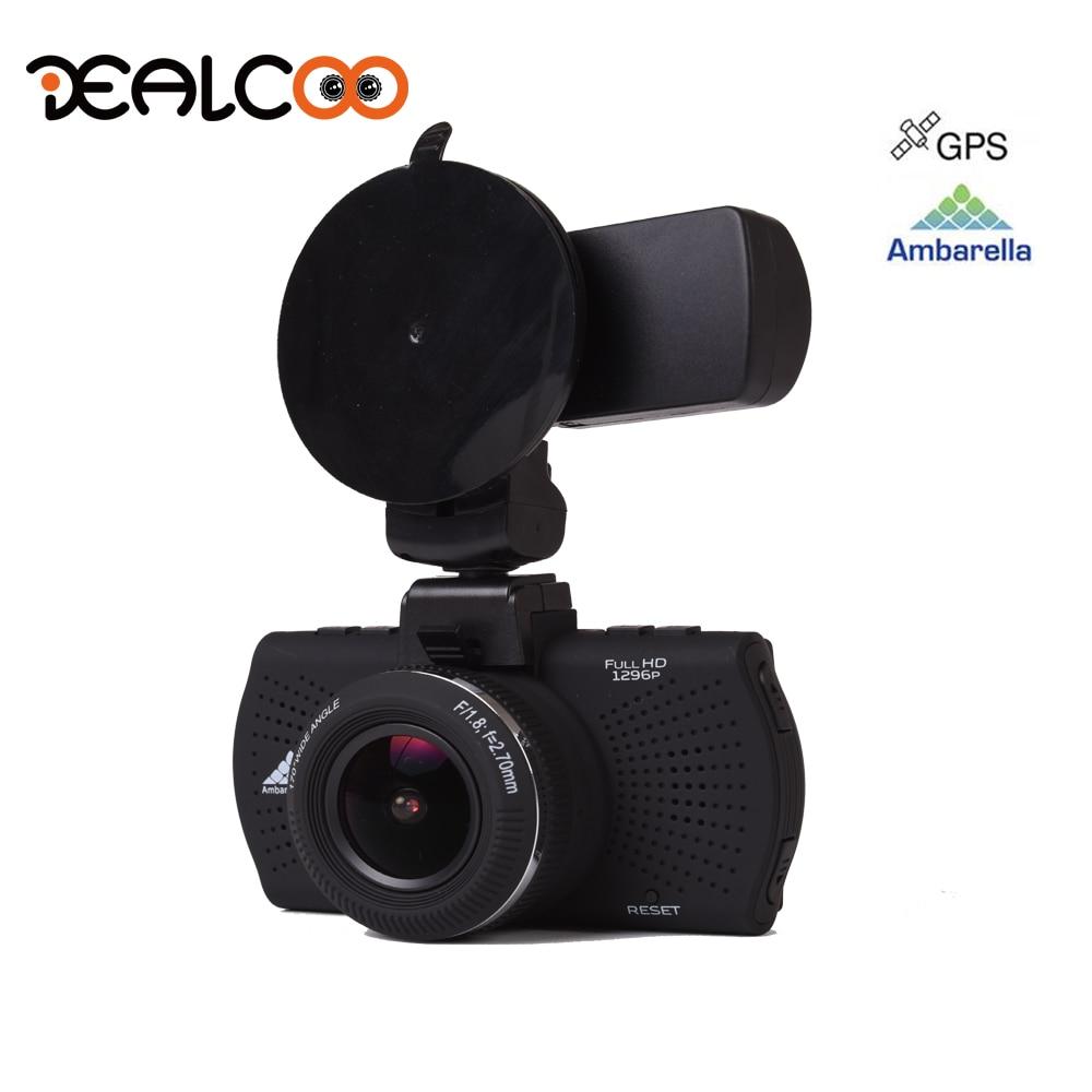 Dealcoo Dash Cam Car Digital Video Recorder 1296P Full HD GPS Logger LDWS Ambarella A7 Overspeed Reminding Night Vision DVR