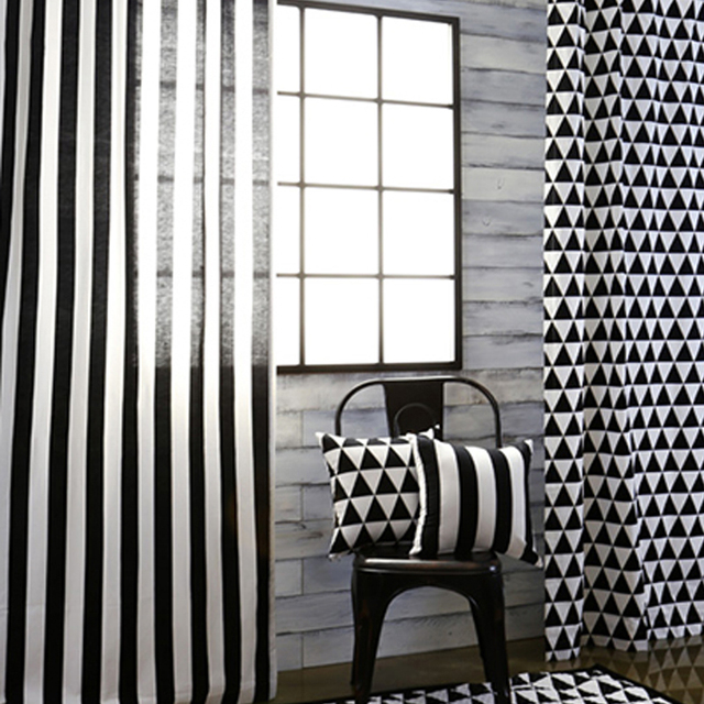 Top Finel Black And White Strip Print Curtain Panel For Living Room Bedroom Small Triangle Blackout