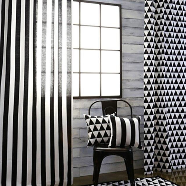 Top Finel Noir Et Blanc Bande Impression Rideau Panneau Pour Salon Chambre  Petit Triangle Rideaux Occultants