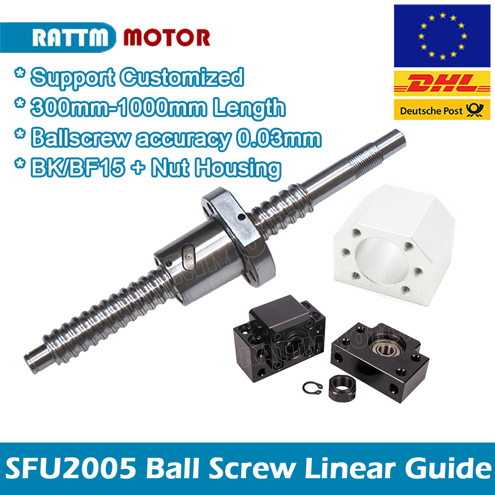 EU SHIP /SFU2005 Ball Screw 300 400 500 600 800 1000mm C7with End Machined Nut Housing BK/BF15 For Router Machine Linear Guides