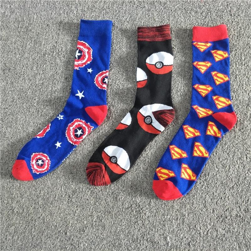 d98cec7db men s socks Spring of the original American captain superman series art  cotton meia masculina funny sokken