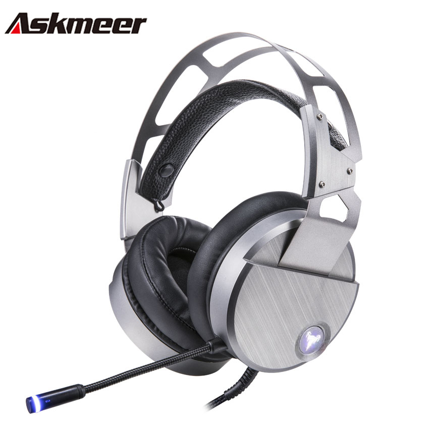 Askmeer V18 Wired USB Gaming Headphones for Computer Over ear PC Gamer Stereo Headset with Microphone Mic Big Earmuff LED Casque portable 3 5 jack wired headphone ear shaped cute foldable stereo headset sport led light gamer games headphones