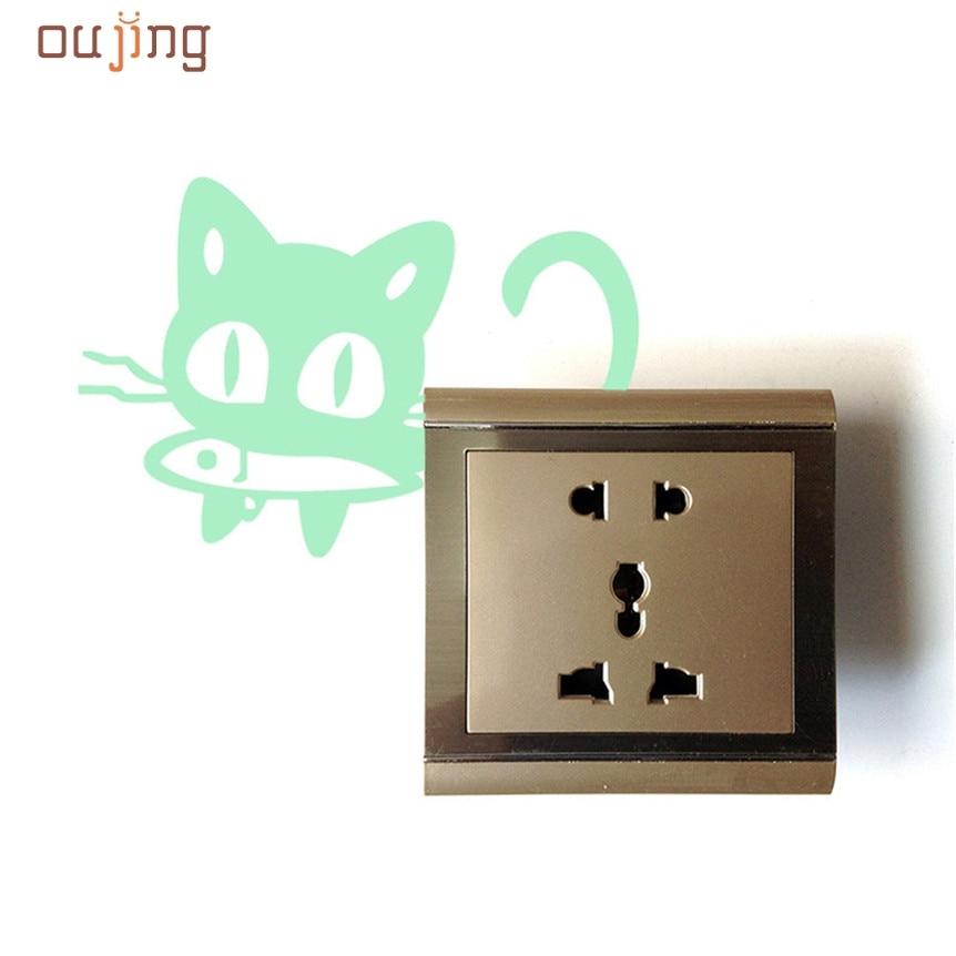 Home Wider AWOO Cute Creative Kitten Cat Luminous Noctilucent Glow Switch Wall Sticker Home mar7 Drop Shipping