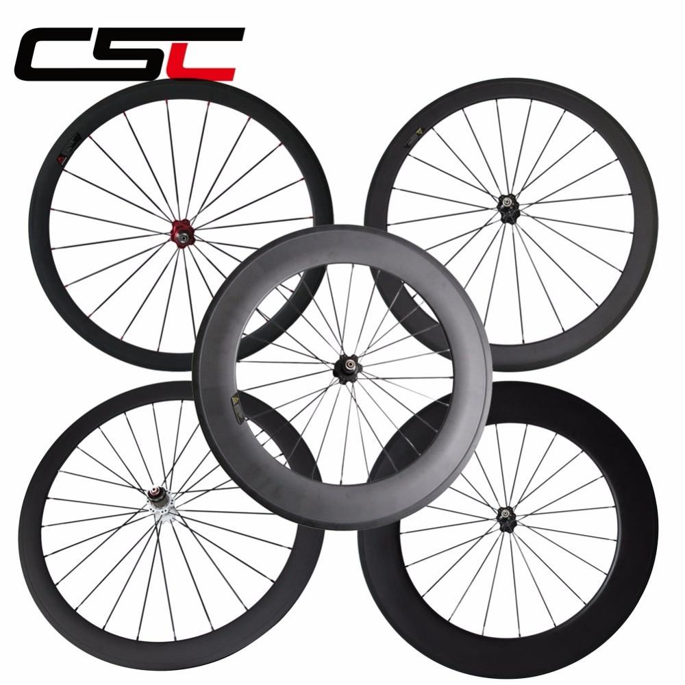 все цены на Single front wheel or rear wheel 23mm wide 24/ 38/ 50/ 60/88mm Depth Clincher Tubular Carbon road bike Wheels novatec hub онлайн
