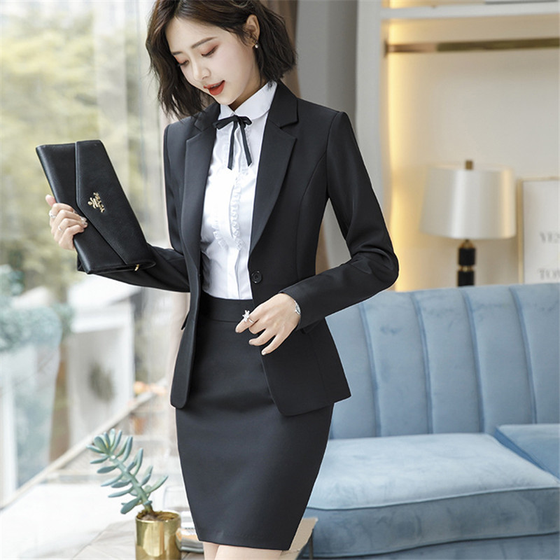 Work Fashion Pant Suits 2 Piece Set for Women singel Breasted solid color Blazer Jacket&Trouser Office Lady Suit Feminino 9