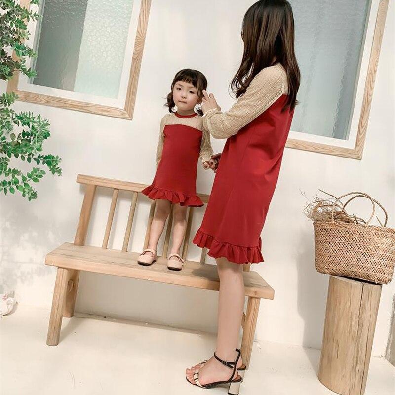 1 Set nouveau été dentelle sirène mère fille robes cadeaux pour la famille correspondant vêtements maman filles rouge robe de soirée Vestidos femme