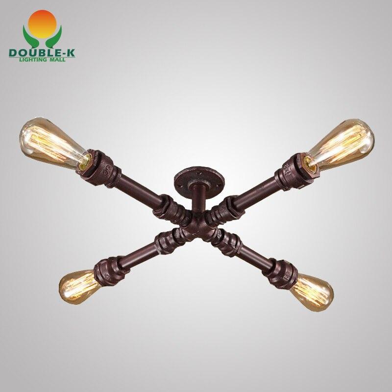 Industrial Lighting Rustic Chandelier Iron Pipe Ceiling: Industrial Vintage Retro Water Iron Pipe Pendant Lamp