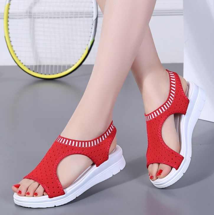 Moda Kadın Sandalet 2019 Nefes Konfor Alışveriş Bayanlar yürüyüş ayakkabısı Yaz Platformu Siyah Sandal Ayakkabı