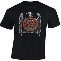 Men S Clothing Full Cotton Short Sleeve Summer T Shirt Slayer Eagle T Shirt Excellent Quality