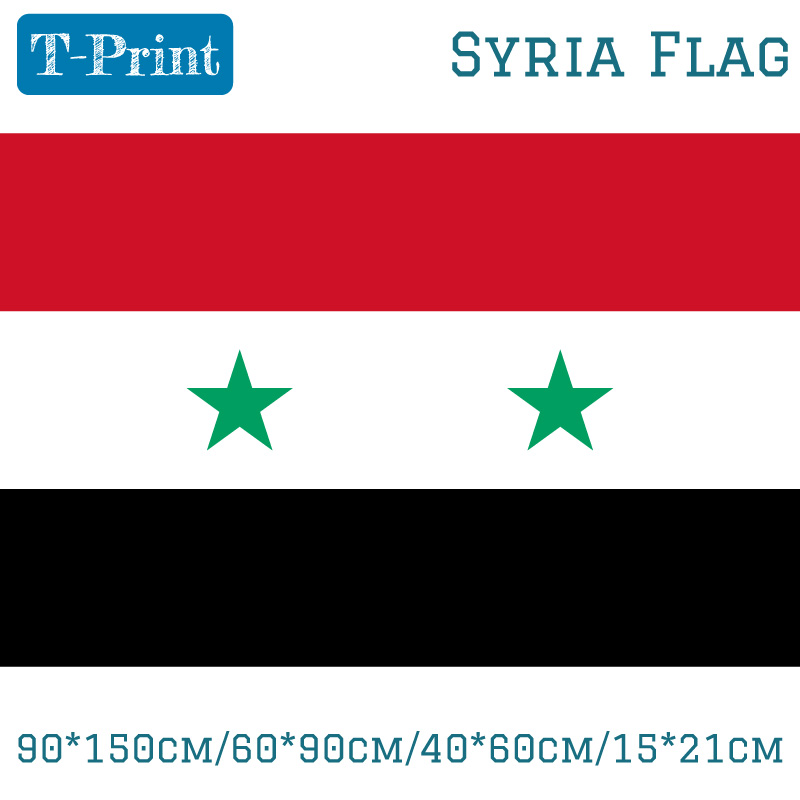 Free shipping 90*150cm/60*90cm/40*60cm/15*21cm Syria Lifting Flag Shipping