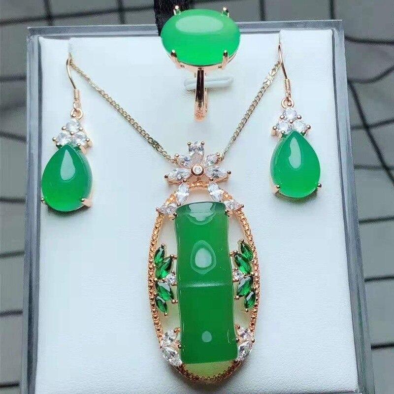 Usine en gros 925 argent incrusté naturel calcédoine agate trois ensembles de noeud vert haute hauteur pendentif anneau boucles d'oreilles