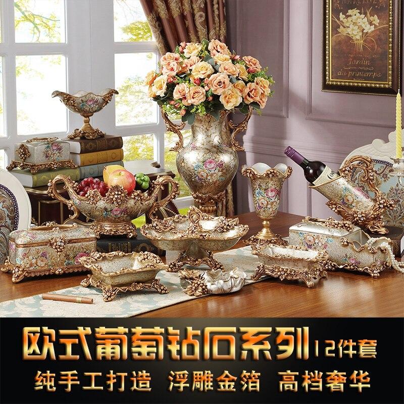 European Style Living Room Decoration Luxury Suit Home Furnishing Resin Box Ashtray Fruit Vase