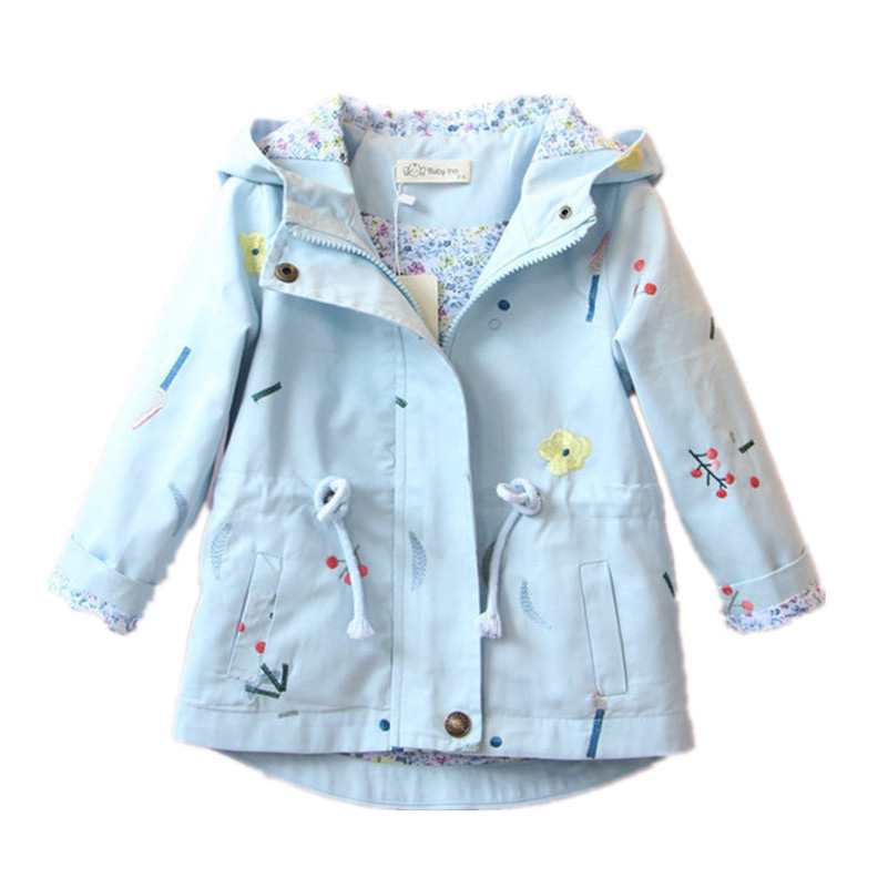 MBBGJOY Girls Jacket Spring Autumn Hooded Windbreaker Embroidered Drawstring Coat for 3 to 7 years Kids Children Clothing крючок akara sw 1123 1 универсальный 10 10шт универсал