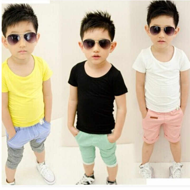 buying cheap large discount shoes for cheap Factory Price Hand Painting Top Children Blank T Shirt O-Neck Short-Sleeve  Kids Baby Cotton Plain White Black T-Shirt 0-14Y