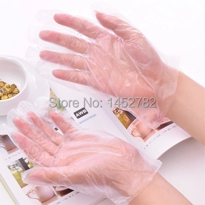 100PCS/LOT Eco-friendly Disposable Gloves PE Garden Household Restaurant BBQ Plastic Multifuctional Gloves Food