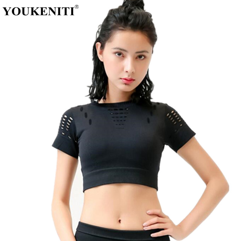 Yoga Tops Hollow Top Black Color Nylon Breathable Short