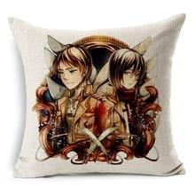 Hot Sale Pillow Covers Attack on Titan Topic Pattern Hot New Design 45X45CM Linen Pillow CoverHome Decorative Linen Cushion